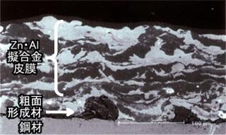亜鉛・アルミニウム擬合金溶射皮膜の断面顕微鏡写真